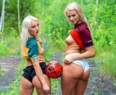 Blonde football fans Lovita Fate and Katie Sky go for hot lesbian sex