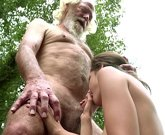 Old grandpa fucks young girl which moans with pleasure and swallows